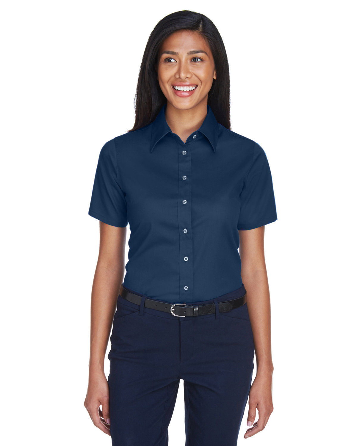 Harriton Ladies' Easy Blend™ Short-Sleeve Twill Shirt withStain-Release NAVY