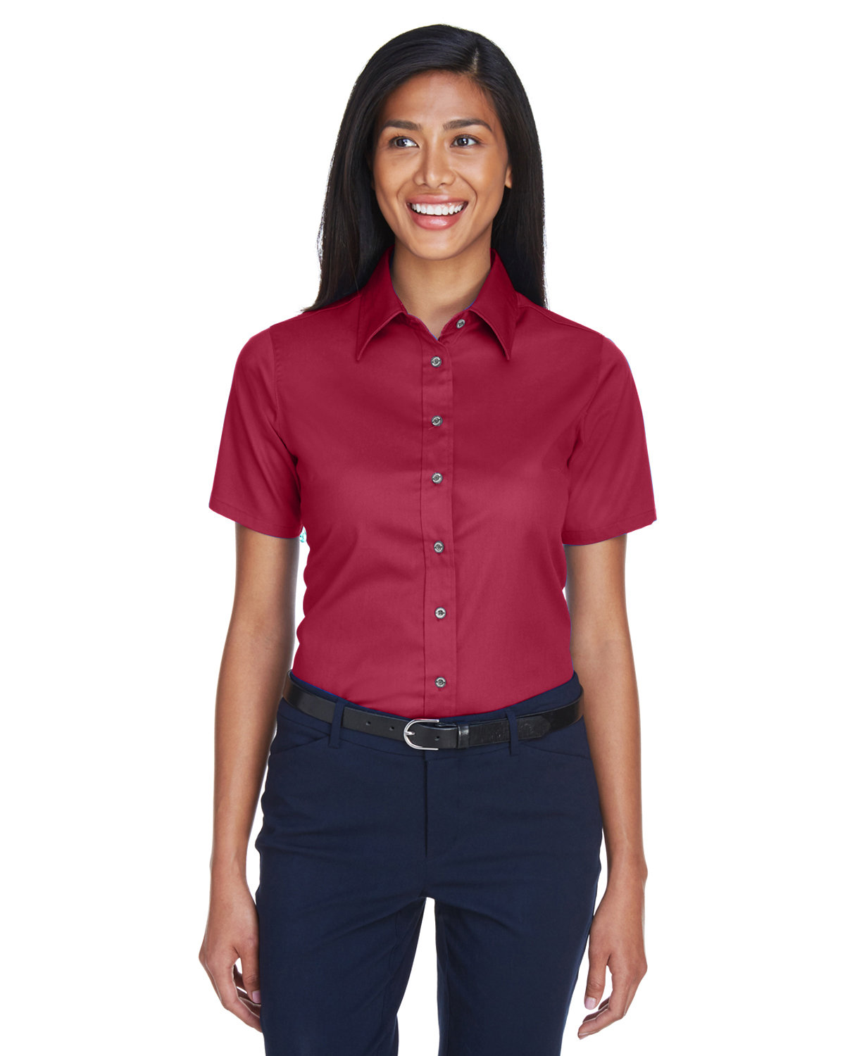 Harriton Ladies' Easy Blend™ Short-Sleeve Twill Shirt withStain-Release WINE