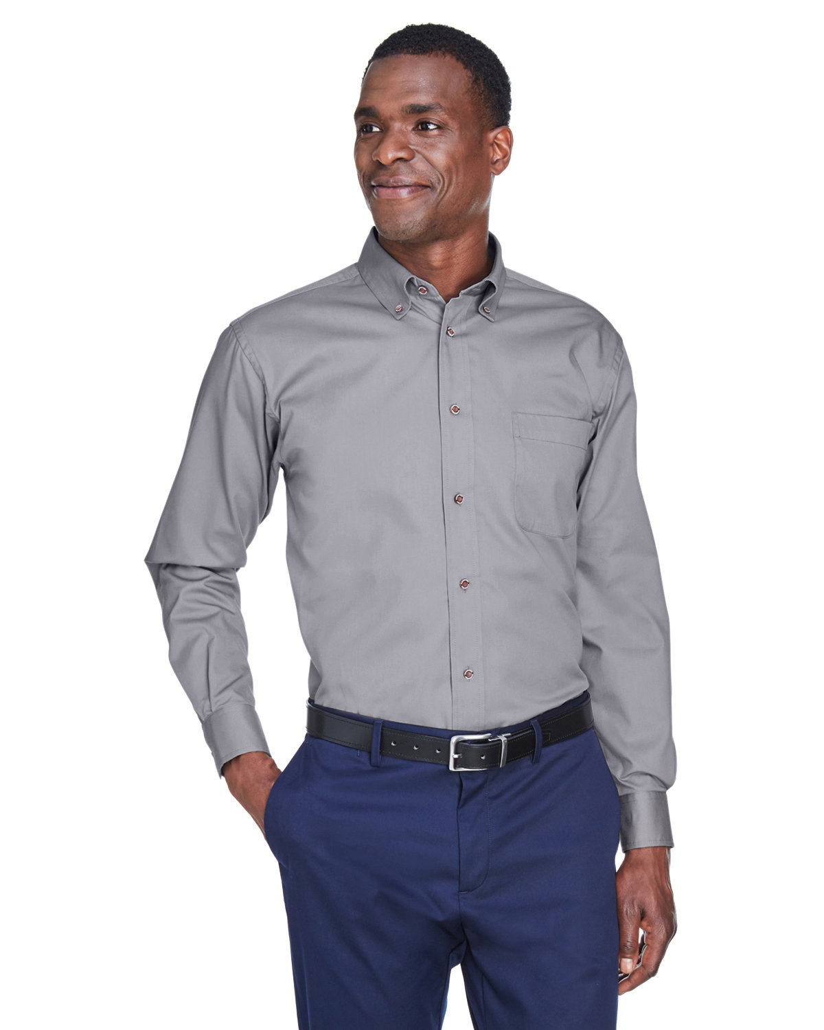 Harriton Men's Tall Easy Blend™ Long-Sleeve Twill Shirt with Stain-Release DARK GREY