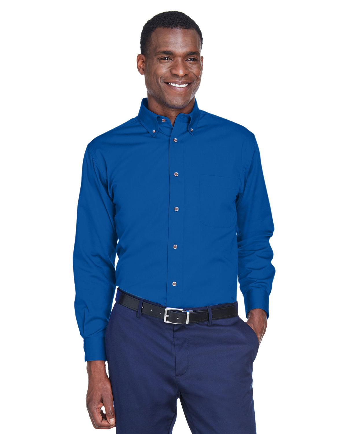 Harriton Men's Tall Easy Blend™ Long-Sleeve Twill Shirt with Stain-Release FRENCH BLUE