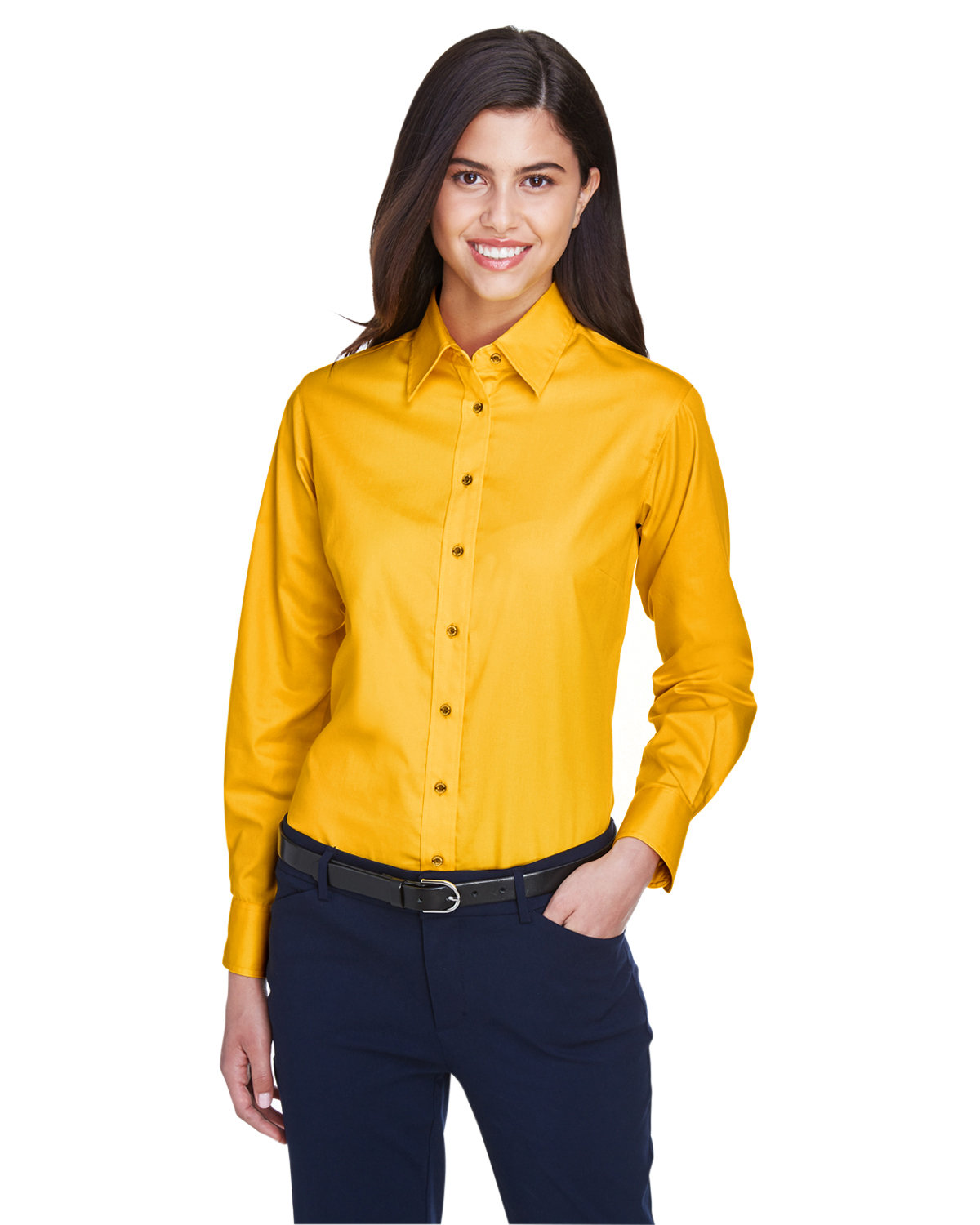 Harriton Ladies' Easy Blend™ Long-Sleeve TwillShirt with Stain-Release SUNRAY YELLOW