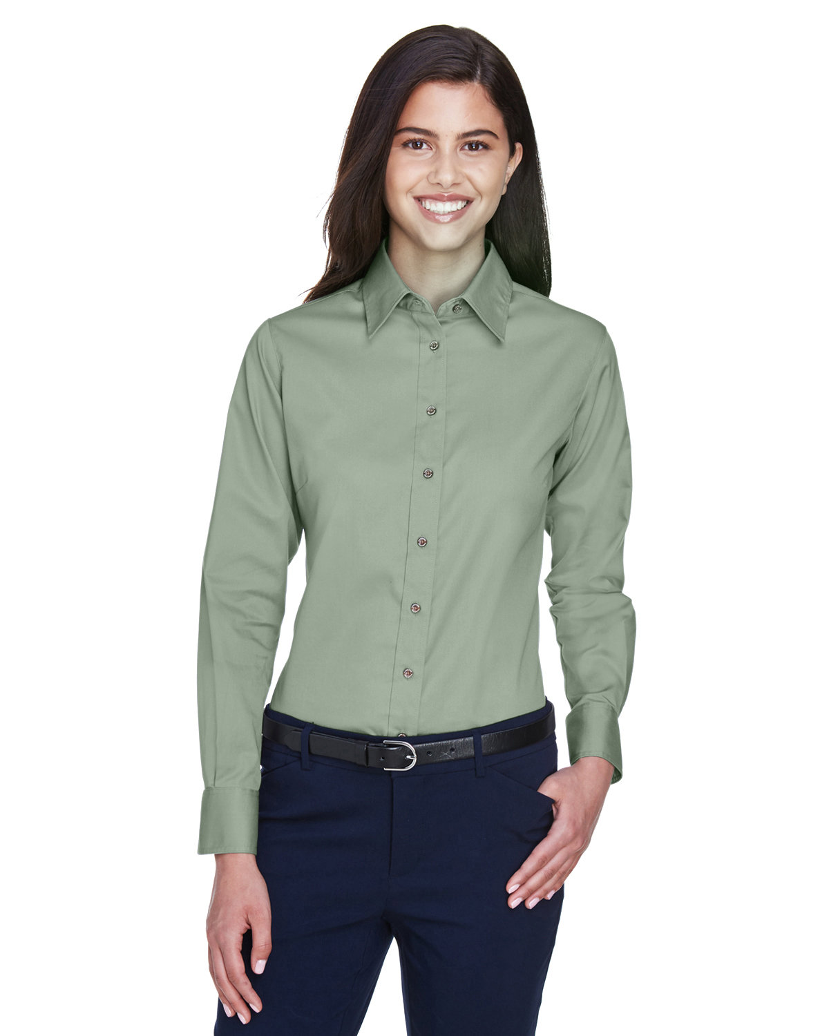 Harriton Ladies' Easy Blend™ Long-Sleeve TwillShirt with Stain-Release DILL