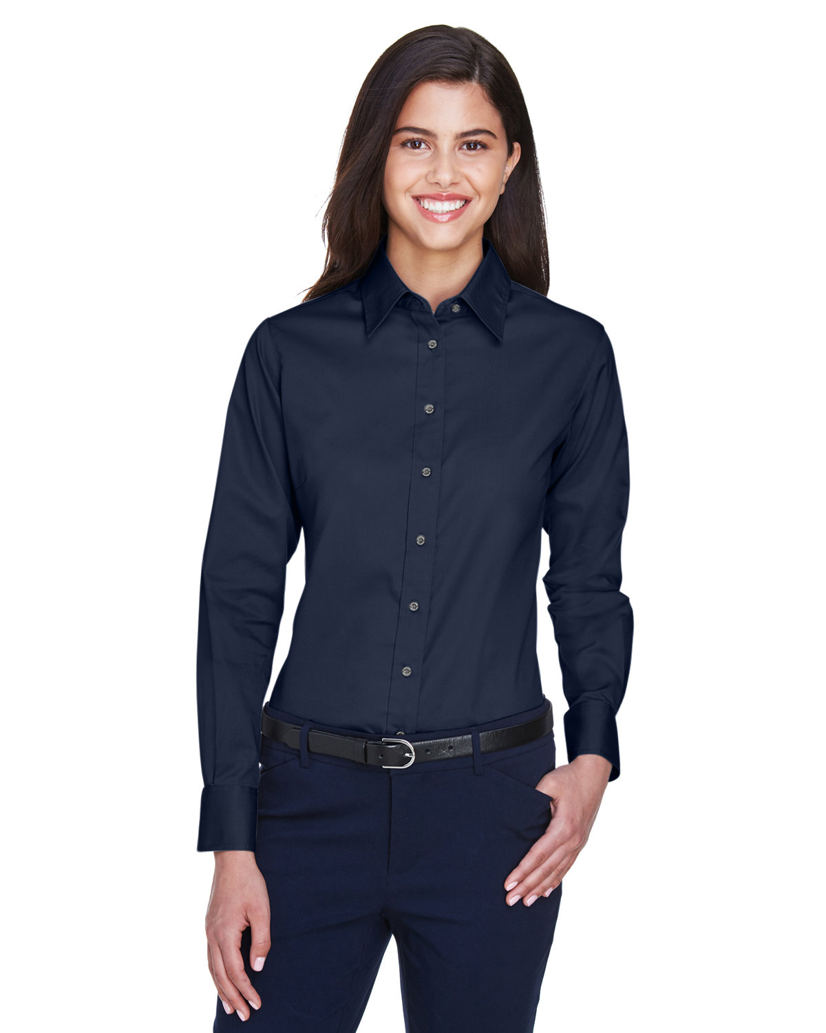 Harriton Ladies' Easy Blend™ Long-Sleeve TwillShirt with Stain-Release NAVY