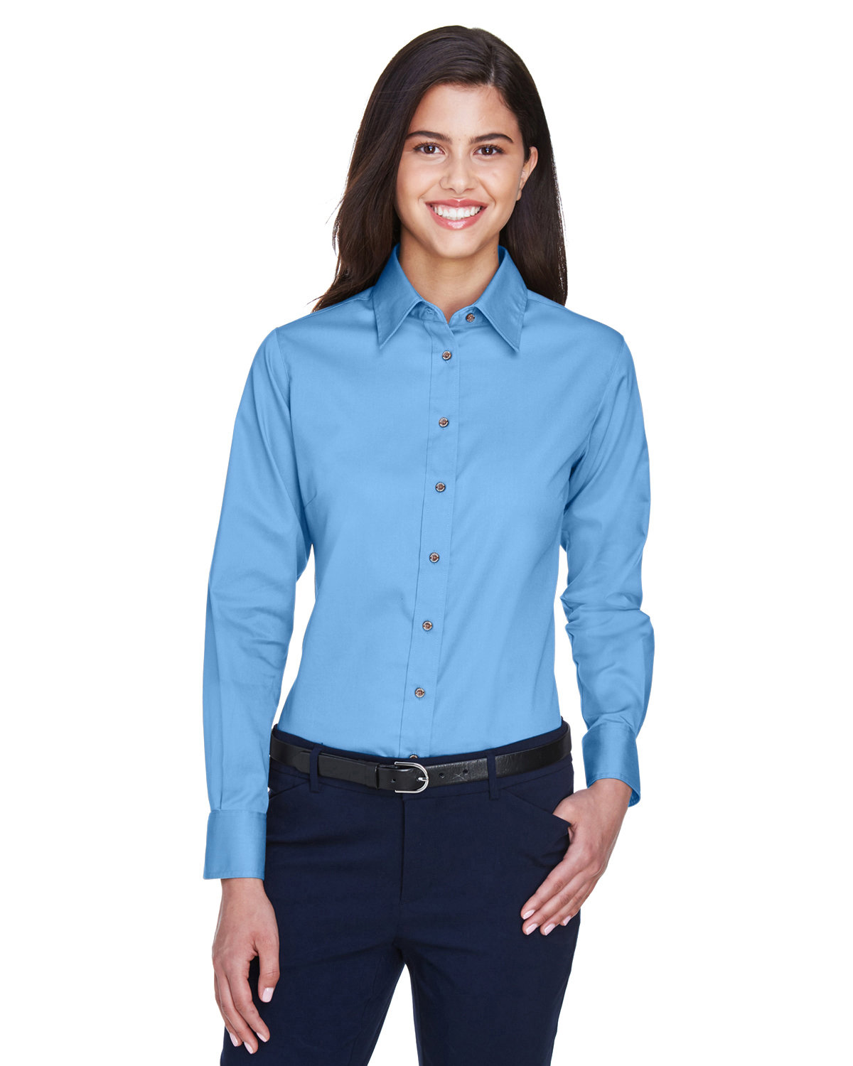 Harriton Ladies' Easy Blend™ Long-Sleeve TwillShirt with Stain-Release LT COLLEGE BLUE