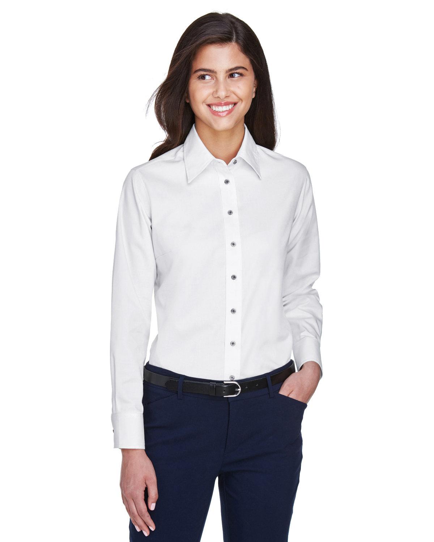 Harriton Ladies' Easy Blend™ Long-Sleeve TwillShirt with Stain-Release WHITE