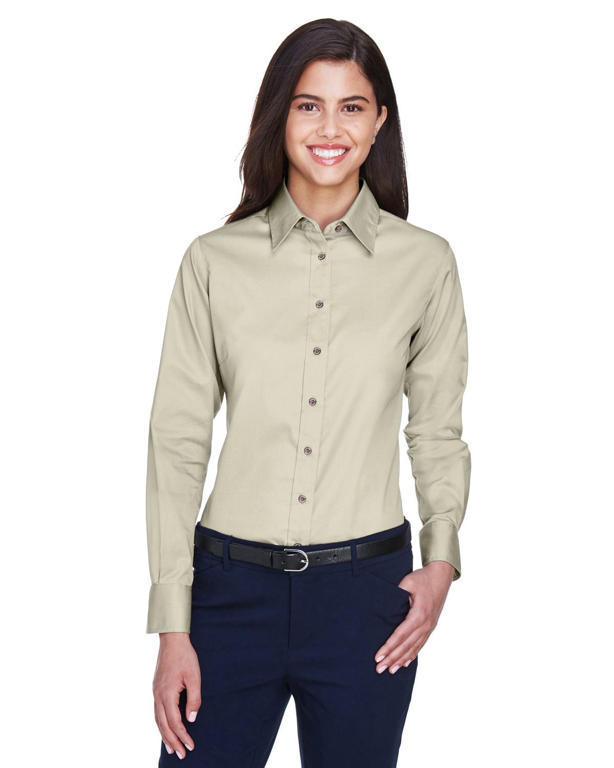 Harriton Ladies' Easy Blend™ Long-Sleeve TwillShirt with Stain-Release CREME