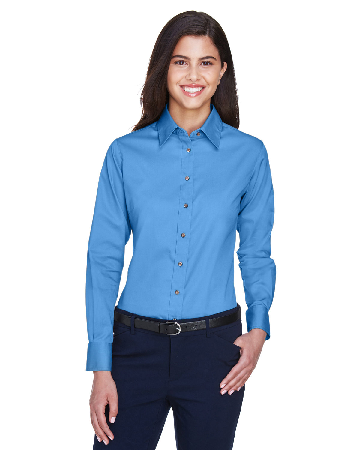 Harriton Ladies' Easy Blend™ Long-Sleeve TwillShirt with Stain-Release NAUTICAL BLUE