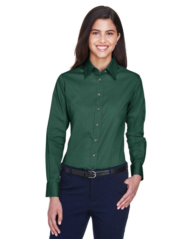 Harriton Ladies' Easy Blend™ Long-Sleeve TwillShirt with Stain-Release HUNTER