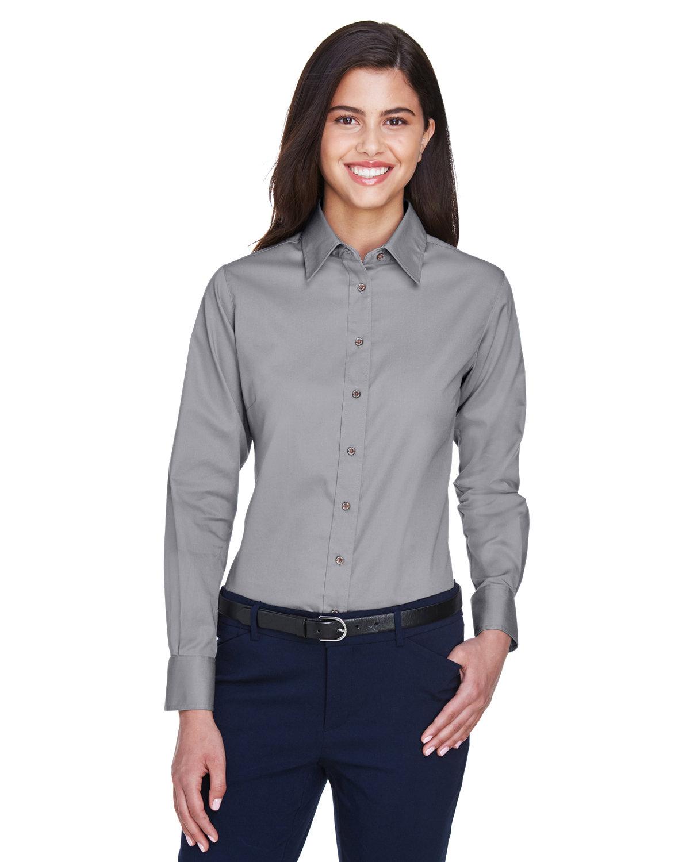 Harriton Ladies' Easy Blend™ Long-Sleeve TwillShirt with Stain-Release DARK GREY