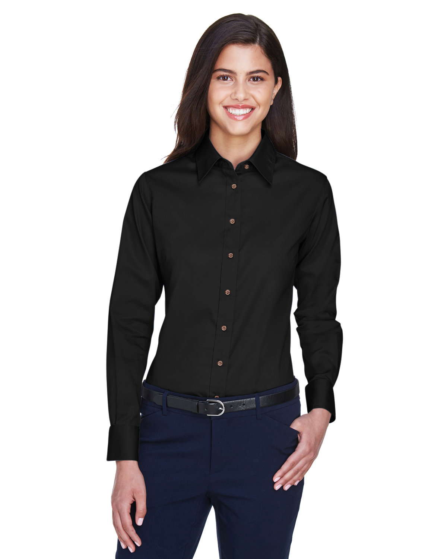 Harriton Ladies' Easy Blend™ Long-Sleeve TwillShirt with Stain-Release BLACK