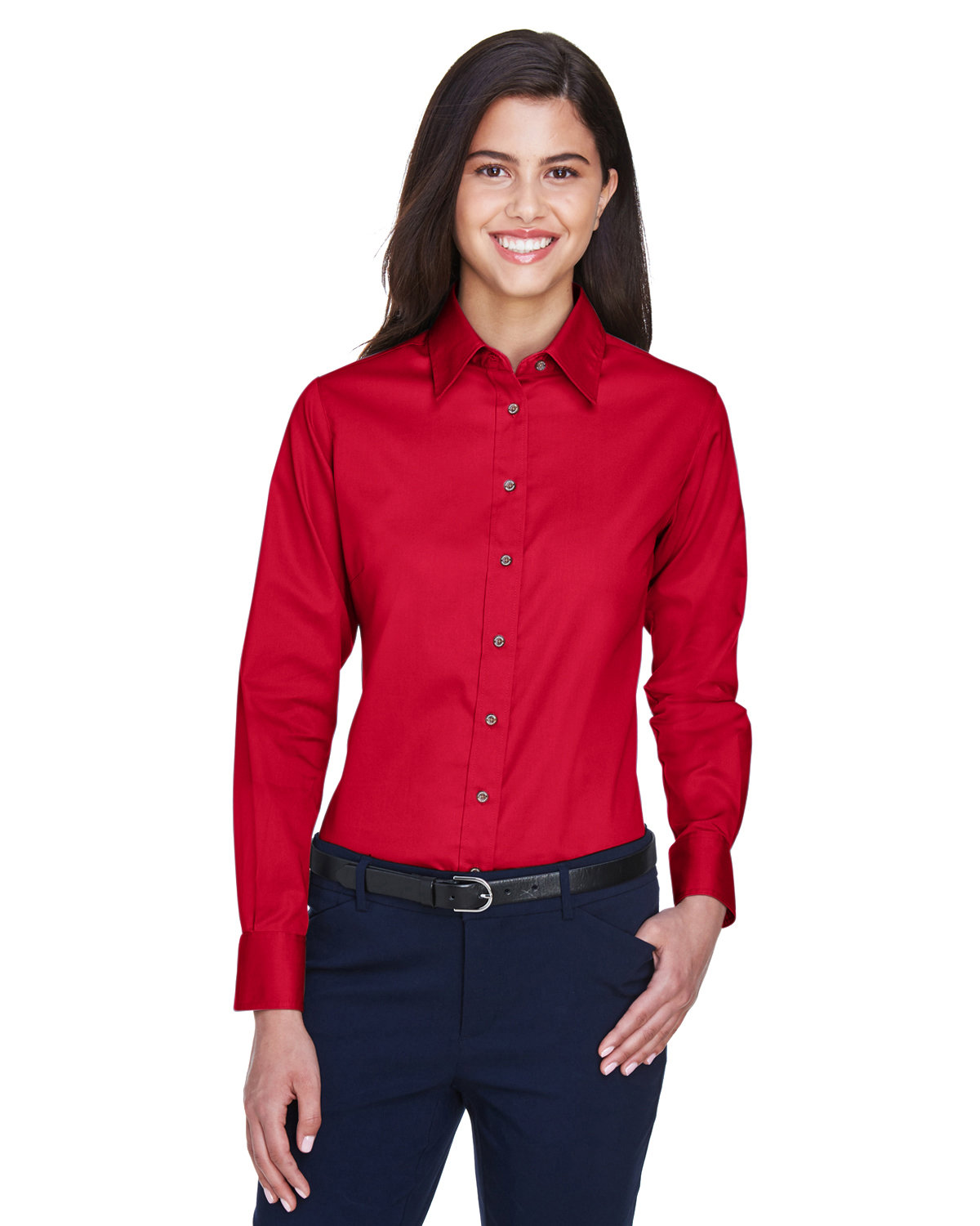 Harriton Ladies' Easy Blend™ Long-Sleeve TwillShirt with Stain-Release RED