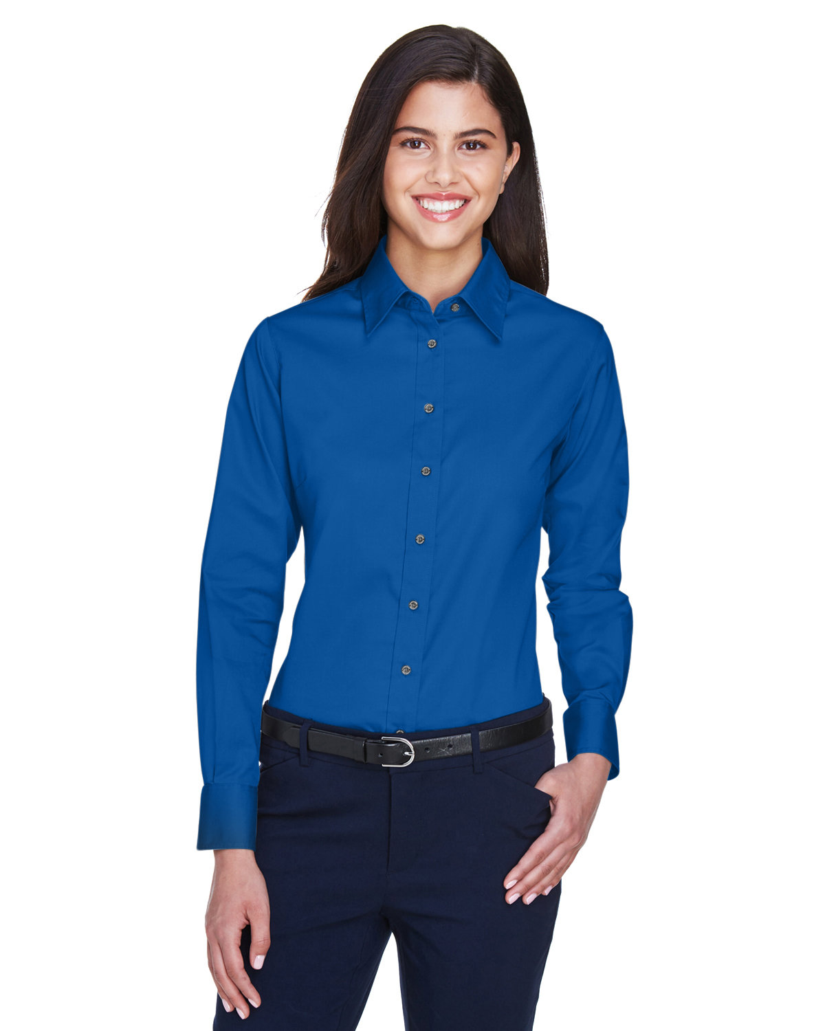 Harriton Ladies' Easy Blend™ Long-Sleeve TwillShirt with Stain-Release FRENCH BLUE