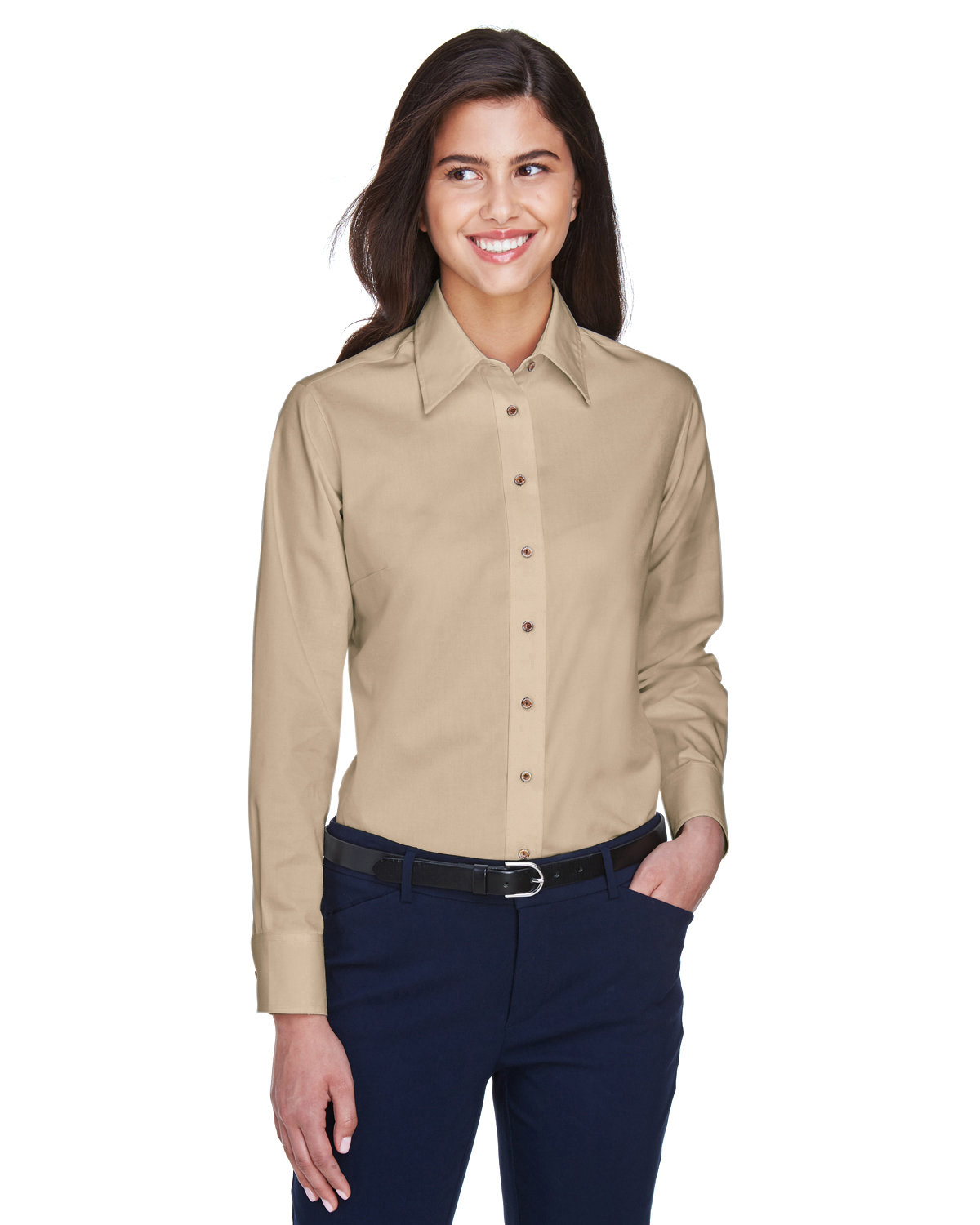 Harriton Ladies' Easy Blend™ Long-Sleeve TwillShirt with Stain-Release STONE