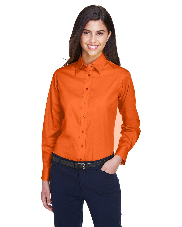 Harriton Ladies' Easy Blend™ Long-Sleeve TwillShirt with Stain-Release TEAM ORANGE