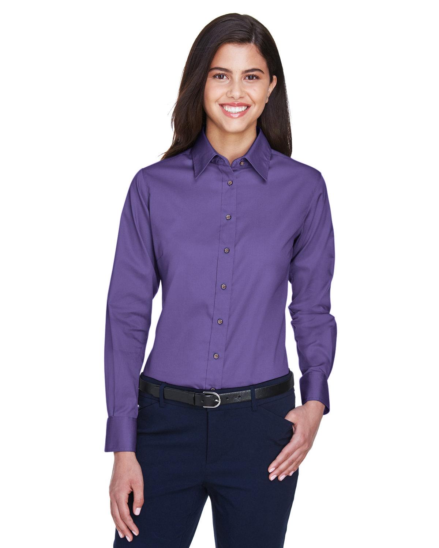 Harriton Ladies' Easy Blend™ Long-Sleeve TwillShirt with Stain-Release TEAM PURPLE