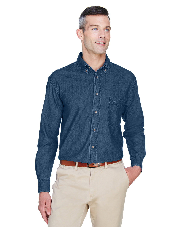 Harriton Men's 6.5 oz. Long-Sleeve Denim Shirt DARK DENIM
