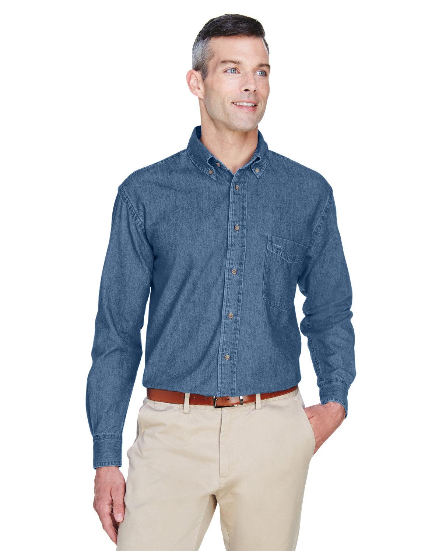 Harriton Men's 6.5 oz. Long-Sleeve Denim Shirt LIGHT DENIM