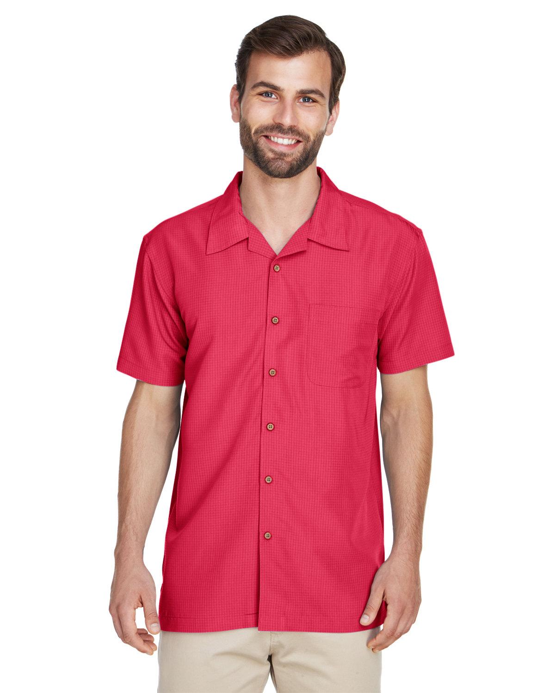Harriton Men's Barbados Textured CampShirt PARROT RED