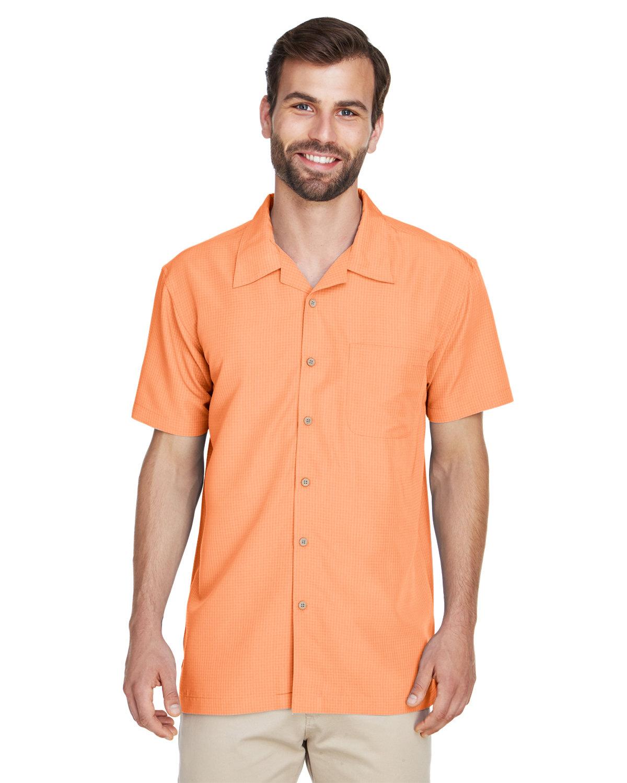 Harriton Men's Barbados Textured CampShirt NECTARINE
