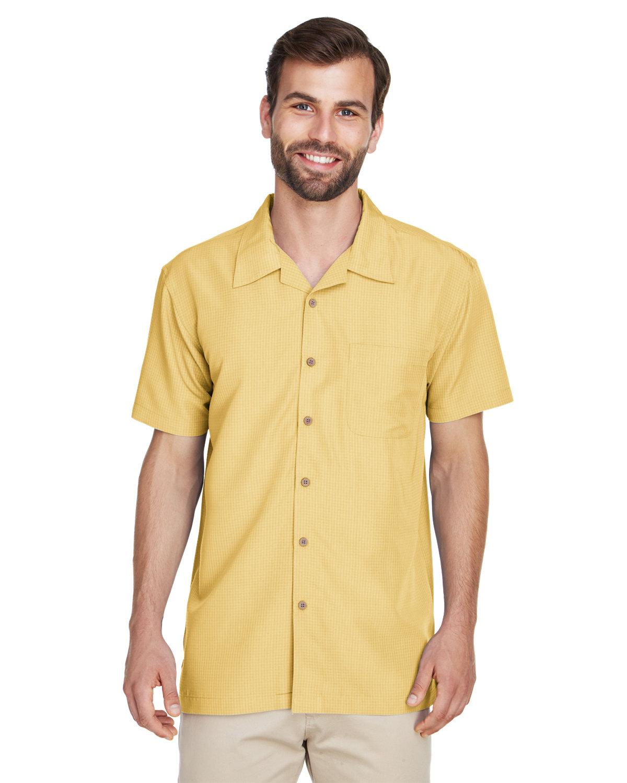 Harriton Men's Barbados Textured CampShirt PINEAPPLE