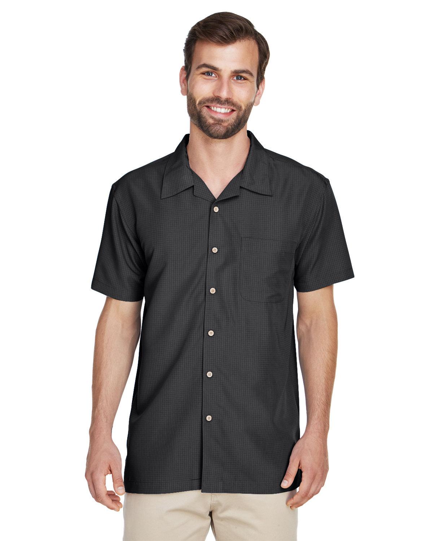 Harriton Men's Barbados Textured CampShirt BLACK