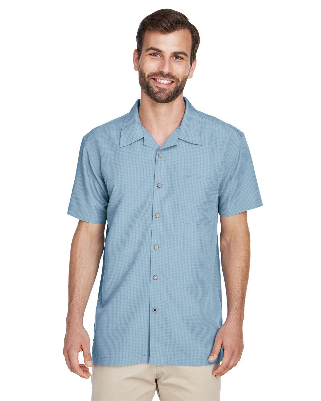 Harriton Men's Barbados Textured CampShirt CLOUD BLUE