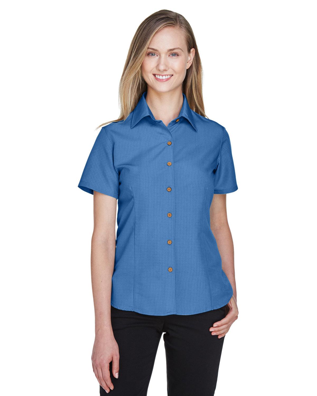 Harriton Ladies' Barbados Textured CampShirt POOL BLUE