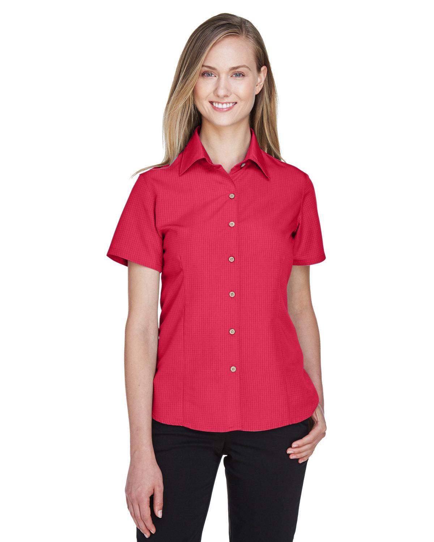 Harriton Ladies' Barbados Textured CampShirt PARROT RED