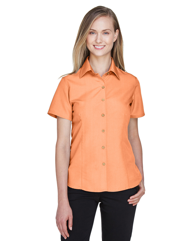 Harriton Ladies' Barbados Textured CampShirt NECTARINE