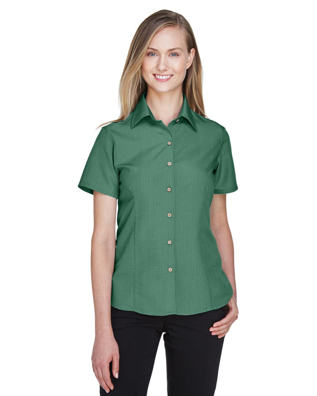 Harriton Ladies' Barbados Textured CampShirt PALM GREEN
