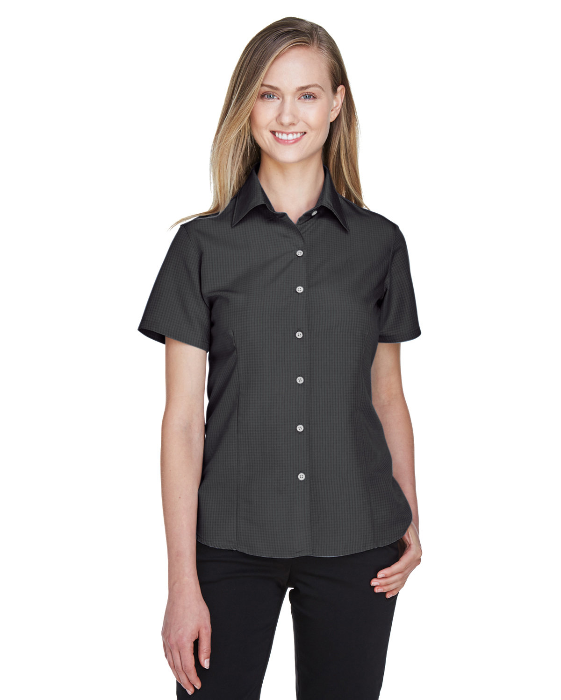 Harriton Ladies' Barbados Textured CampShirt BLACK