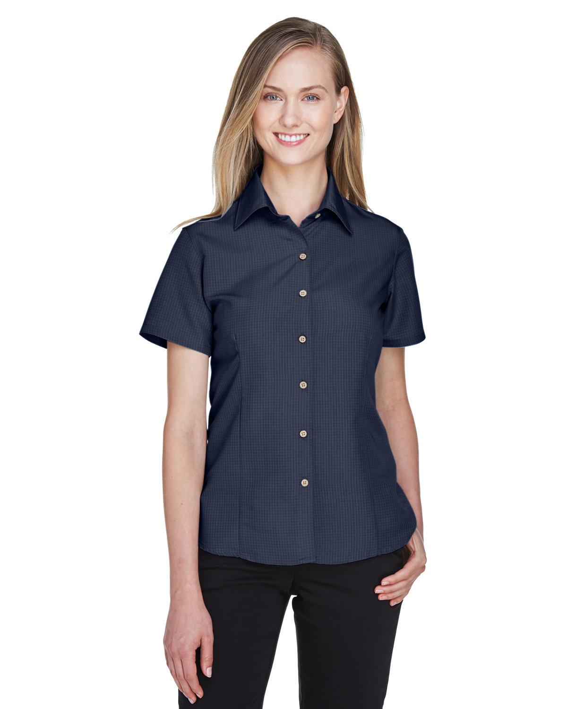 Harriton Ladies' Barbados Textured CampShirt NAVY