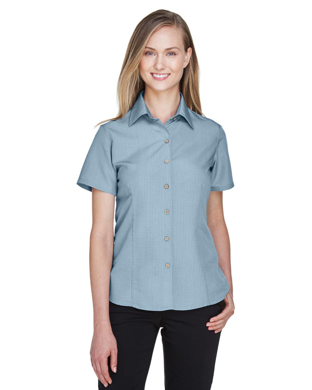 Harriton Ladies' Barbados Textured CampShirt CLOUD BLUE