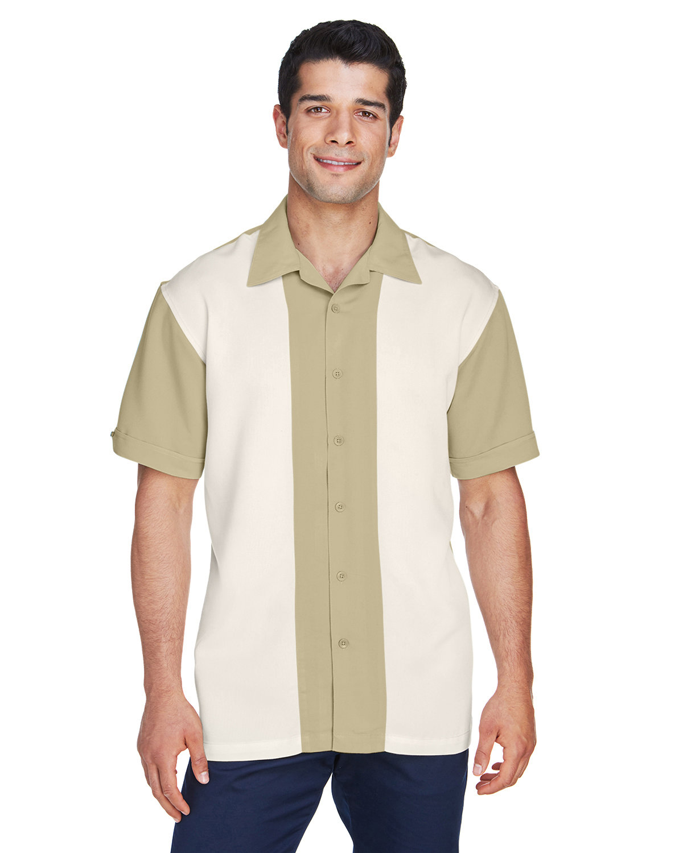Harriton Men's Two-Tone Bahama Cord Camp Shirt SAND/ CREME
