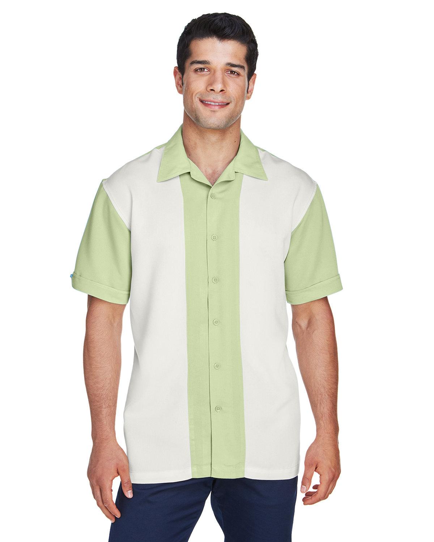 Harriton Men's Two-Tone Bahama Cord Camp Shirt GREEN MIST/ CREM