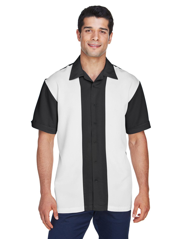 Harriton Men's Two-Tone Bahama Cord Camp Shirt BLACK/ CREME