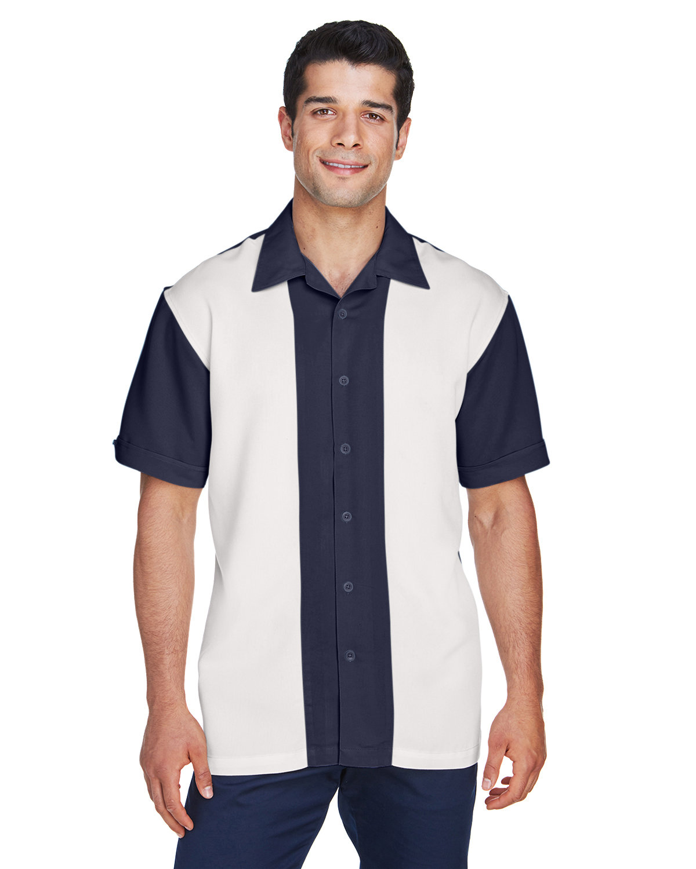 Harriton Men's Two-Tone Bahama Cord Camp Shirt NAVY/ CREME