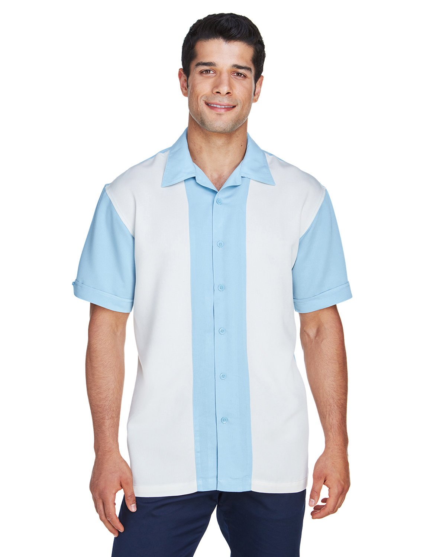 Harriton Men's Two-Tone Bahama Cord Camp Shirt CLOUD BLUE/ CREM