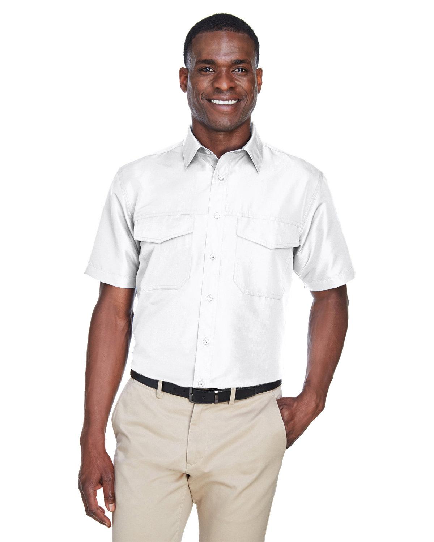 Harriton Men's Key West Short-Sleeve Performance Staff Shirt WHITE