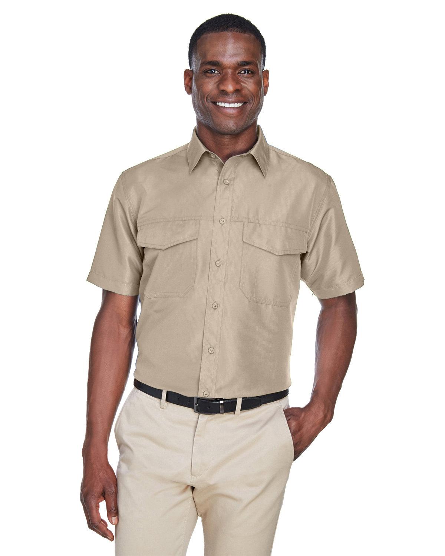 Harriton Men's Key West Short-Sleeve Performance Staff Shirt KHAKI