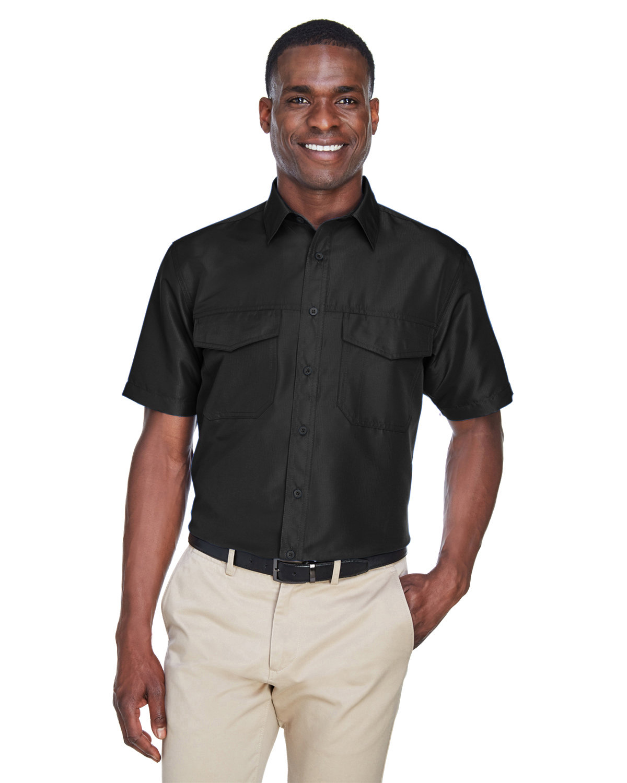 Harriton Men's Key West Short-Sleeve Performance Staff Shirt BLACK