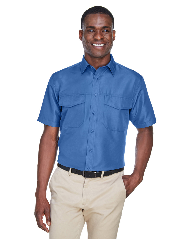 Harriton Men's Key West Short-Sleeve Performance Staff Shirt POOL BLUE