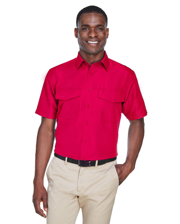 Harriton Men's Key West Short-Sleeve Performance Staff Shirt RED