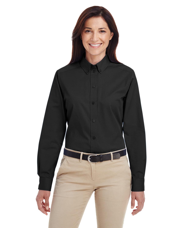 Harriton Ladies' Foundation 100% Cotton Long-Sleeve Twill Shirt withTeflon™ BLACK