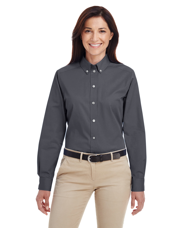 Harriton Ladies' Foundation 100% Cotton Long-Sleeve Twill Shirt withTeflon™ DARK CHARCOAL