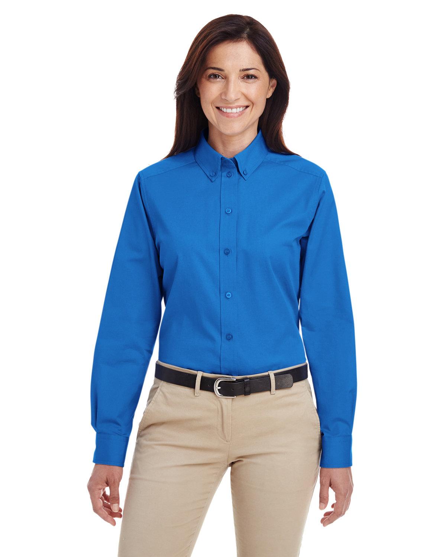 Harriton Ladies' Foundation 100% Cotton Long-Sleeve Twill Shirt withTeflon™ FRENCH BLUE