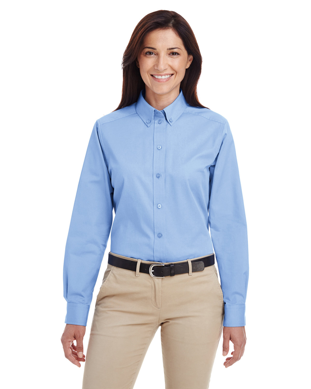 Harriton Ladies' Foundation 100% Cotton Long-Sleeve Twill Shirt withTeflon™ INDUSTRY BLUE