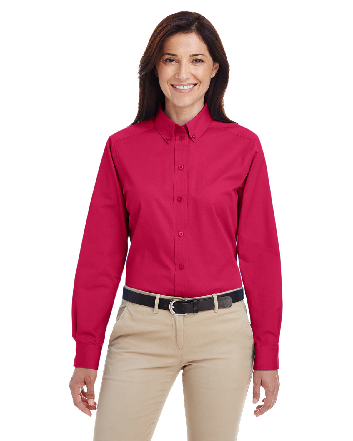 Harriton Ladies' Foundation 100% Cotton Long-Sleeve Twill Shirt withTeflon™ RED