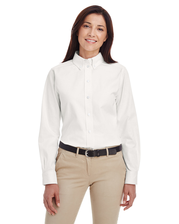 Harriton Ladies' Foundation 100% Cotton Long-Sleeve Twill Shirt withTeflon™ WHITE