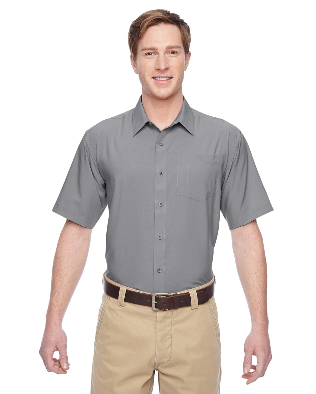 Harriton Men's Paradise Short-Sleeve Performance Shirt DARK GREY
